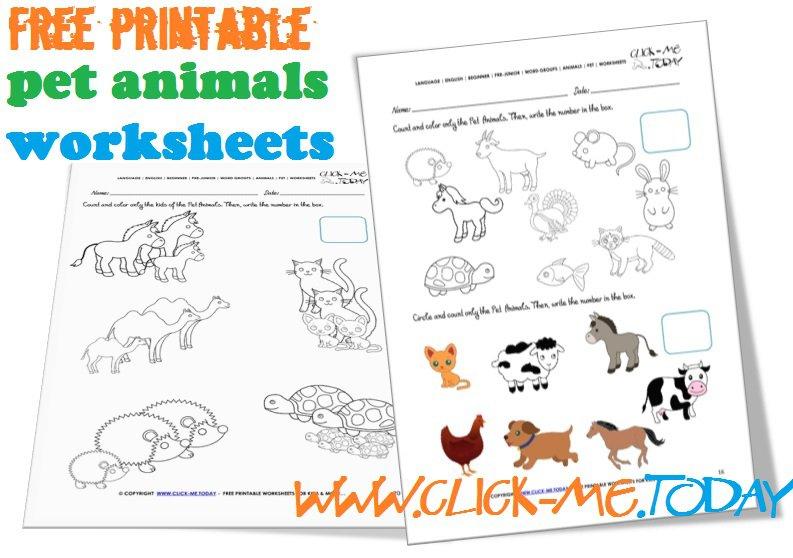 Printable Pet Animals Worksheets