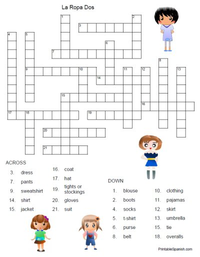Printable Spanish Freebie Of The Day  La Ropa Dos Crossword Puzzle