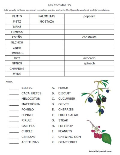 Printable Spanish Worksheets Packet Puzzles Matching Fun Foods
