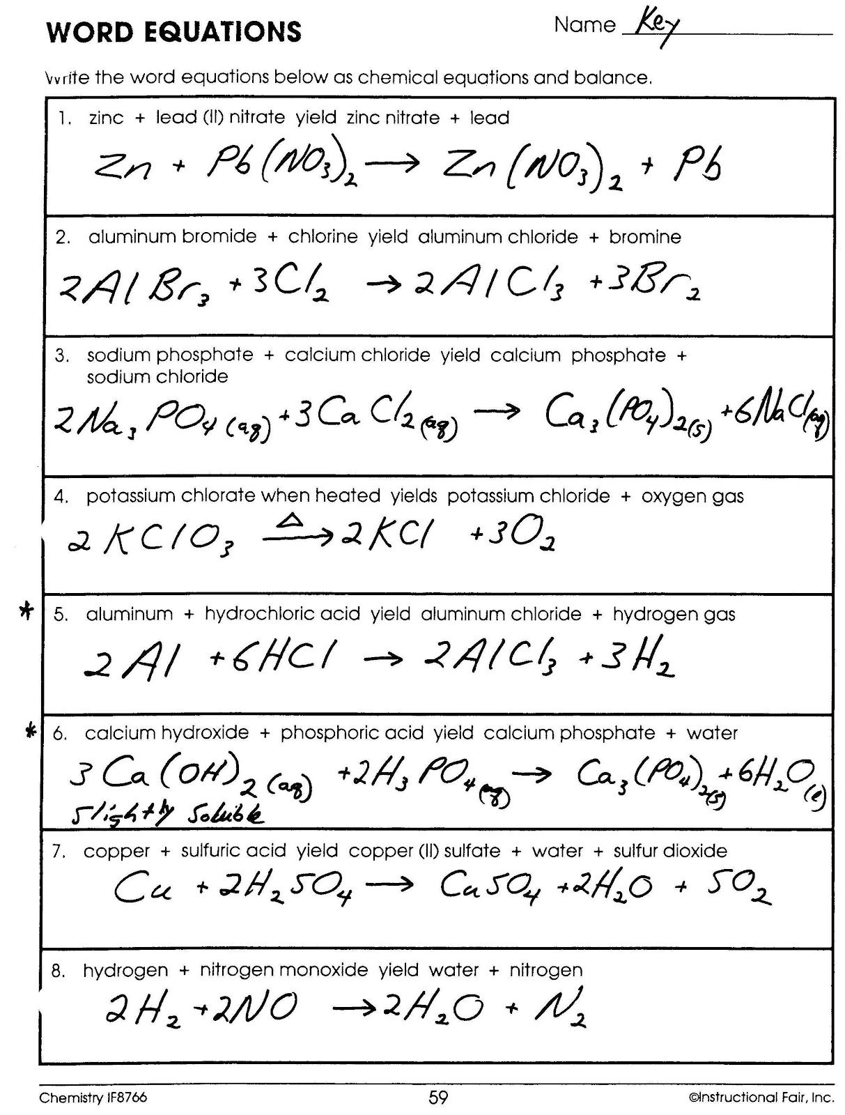 Printables  Chemistry Word Equations Worksheet  Kigose Thousands