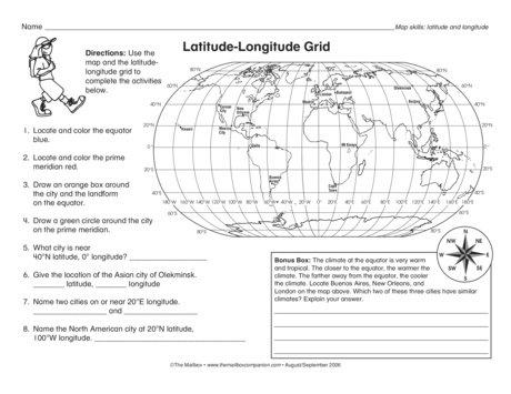 Printables  Latitude And Longitude Worksheets 4th Grade  Agariohi