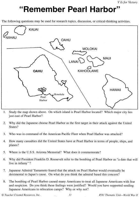 Printables  Pearl Harbor Worksheet  Agariohi Worksheets Printables