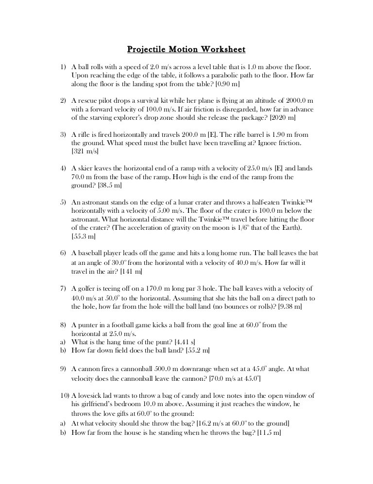 Projectile Motion Worksheet