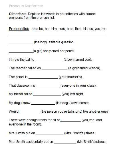 Pronouns Worksheets Middle School Worksheets For All
