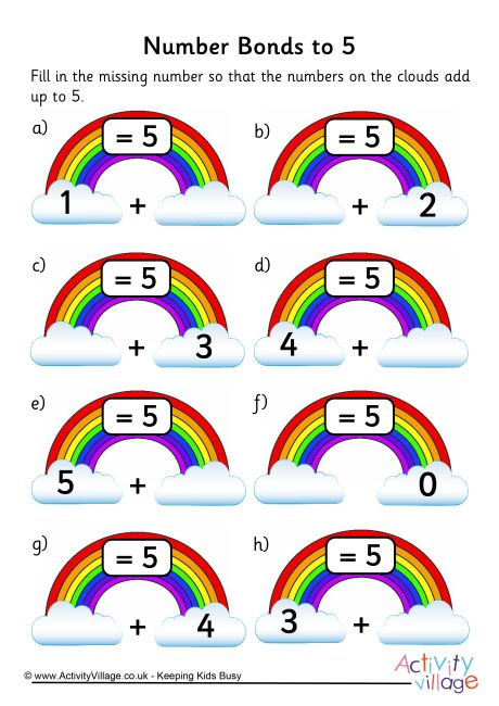 Rainbow Number Bonds Worksheet To 5