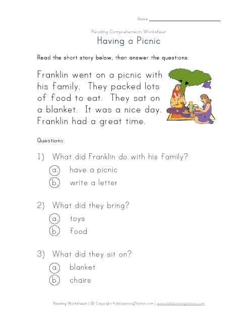 Reading Comprehension Worksheets 1 St Grade Compliant Illustration