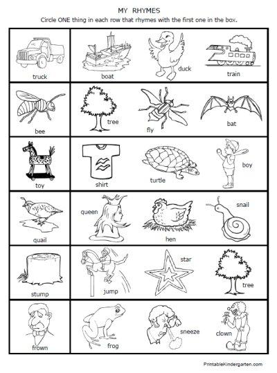 Rhyming Word Worksheets For Kindergarten Worksheets For All