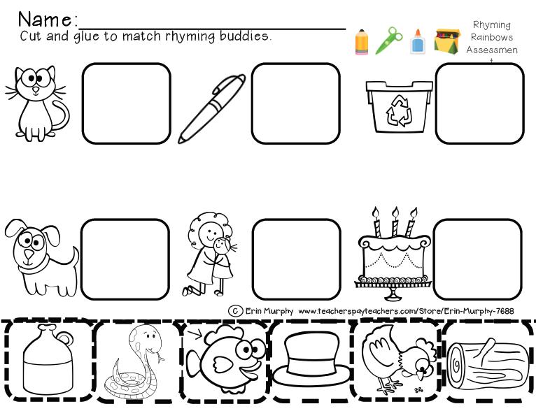 Rhyming Worksheets For Kindergarten Cut And Paste Worksheets For
