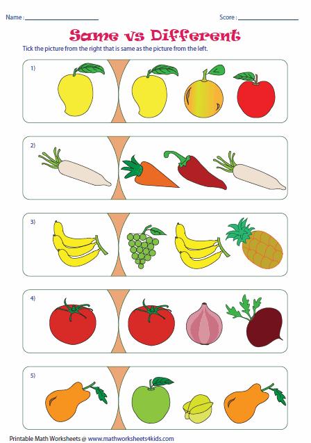 Same Different Kindergarten Worksheets Same And Different
