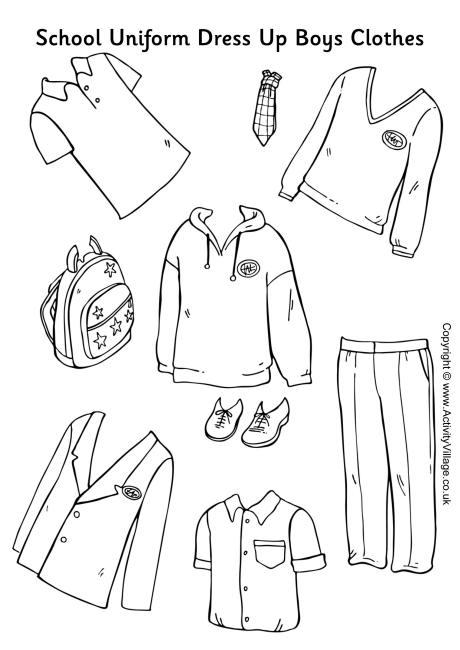 School Uniform Paper Dolls Boys Clothes