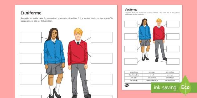 School Uniform Worksheet   Activity Sheet French