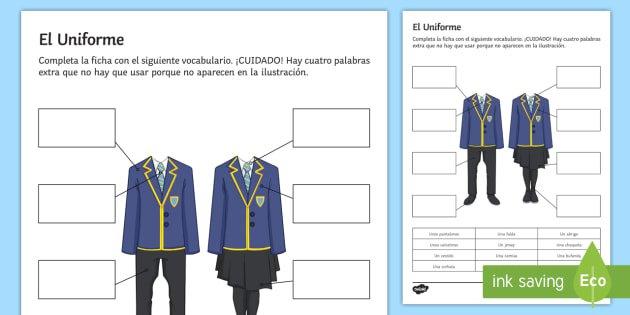 School Uniform Worksheet   Activity Sheet Spanish