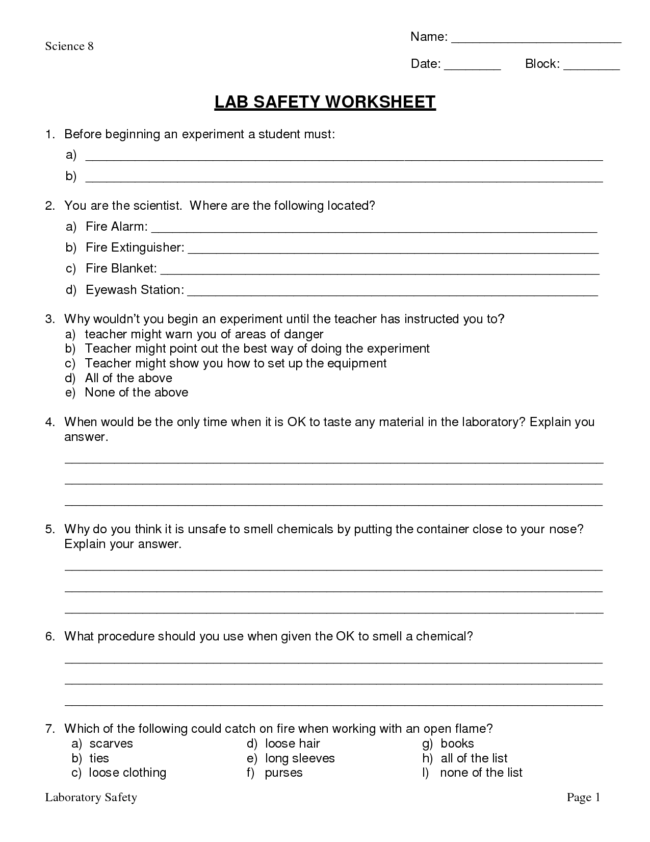 Science Lab Safety Worksheets And Answers  Science  Best Free
