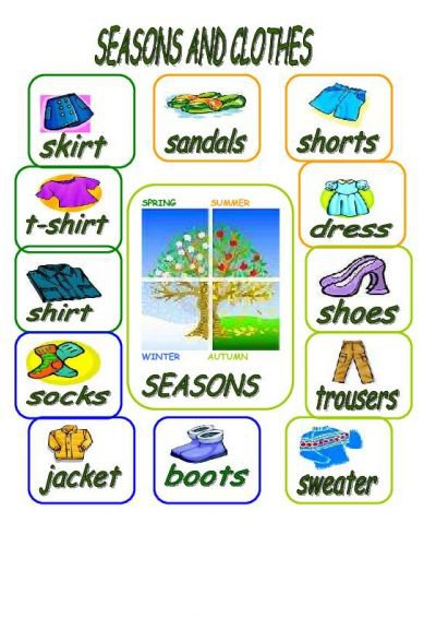 Seasons And Clothes Worksheet