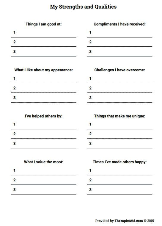 Self Esteem Worksheets For Teenagers Worksheets For All