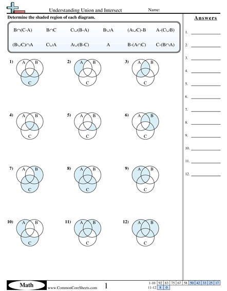 Sets And Venn Diagrams Worksheets With Answers Worksheets For All