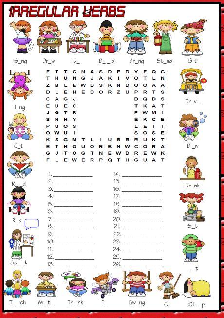 Simple  Irregular Verbs Wordsearch Puzzle