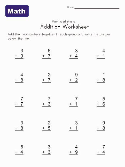 Simple Addition Worksheet 1