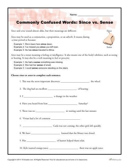 Since Vs  Sense Worksheet