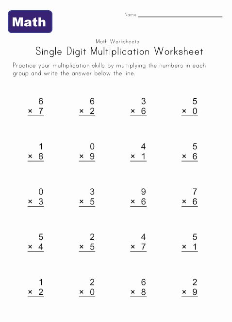 Single Digit Multiplication Worksheet 1  Going To Help Emma This