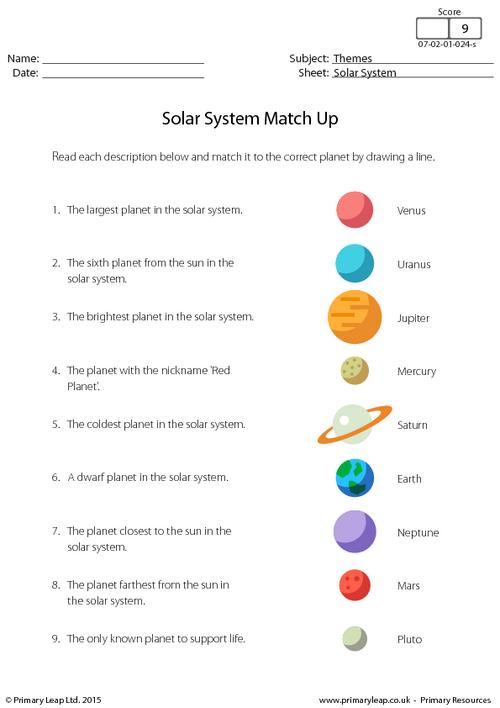 Solar System Worksheets Primaryleapcouk Solar System Match Up