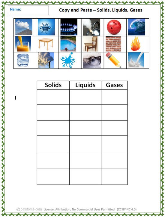Solid Liquid And Gas Worksheets Free Worksheets Library
