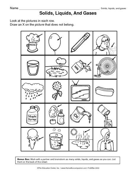 Solids Liquids And Gas Worksheets Worksheets For All