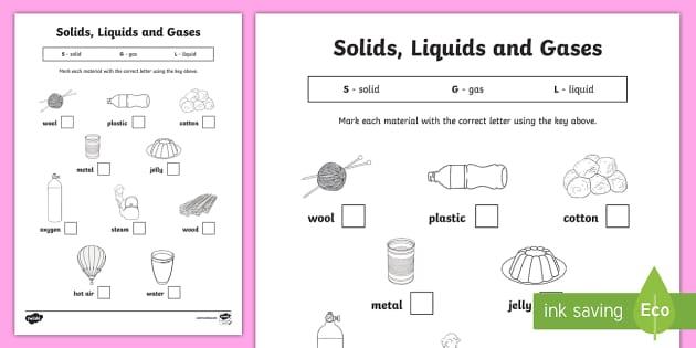 Solids Liquids And Gases Worksheet