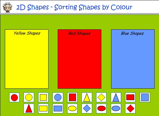 Sorting Shapes According To Colour And Shape, Mathematics Skills