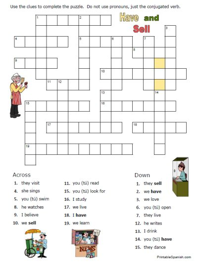 Spanish Verbs Worksheets 1 – Home Education Resources
