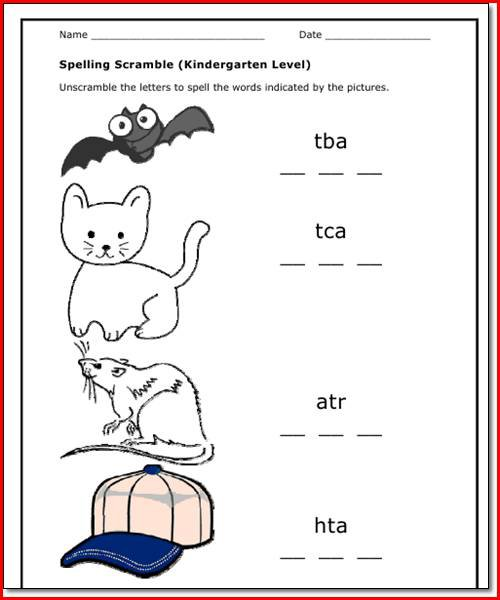 Spelling Worksheet For Kindergarten