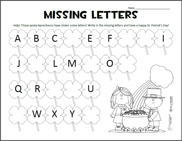 Squarehead Teachers  St  Patrick's Day Missing Letters Abc Page