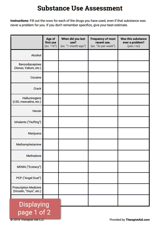 Substance Use Assessment (worksheet)