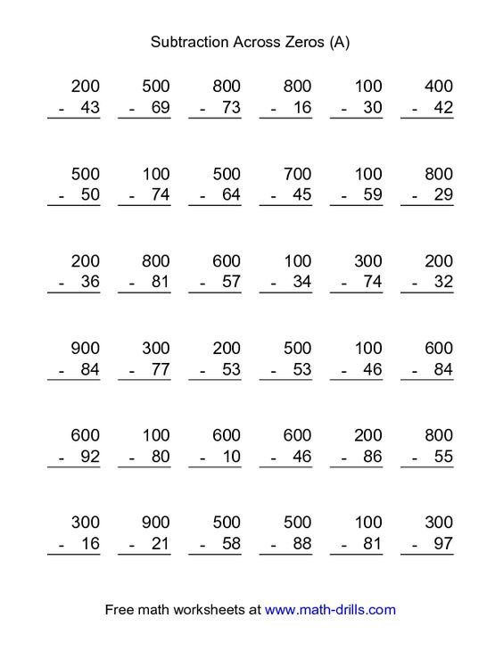 Subtraction Worksheets With Zeros And Worksheets For All