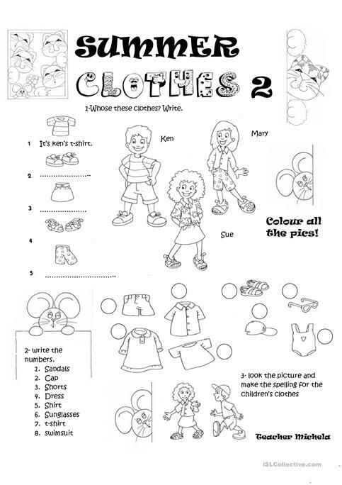 Summer Clothes 2 Worksheet