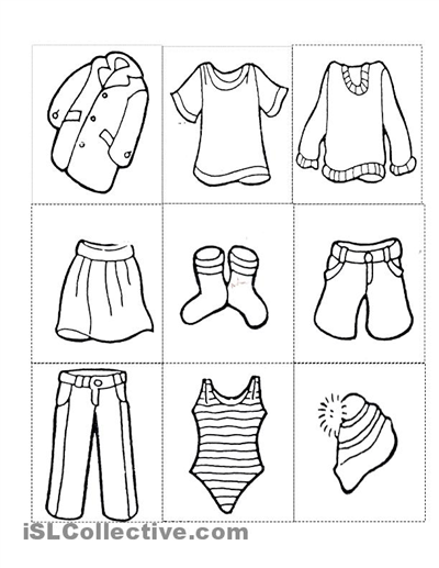 Summer Clothes Coloring Pages Kindergarten