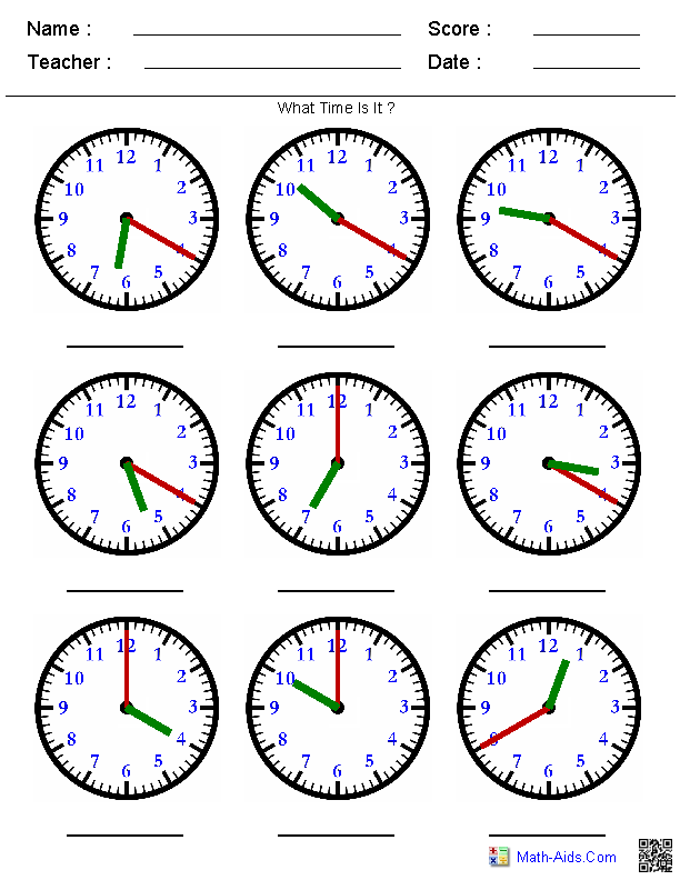 Telling Time Printables Telling Time Printable Pages