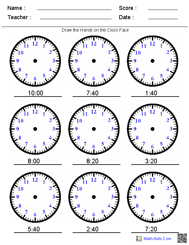 Telling Time Printables Telling Time Printable Pages