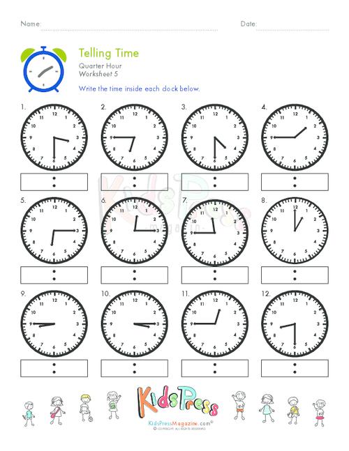 Telling Time Quarter Hour Worksheet  5