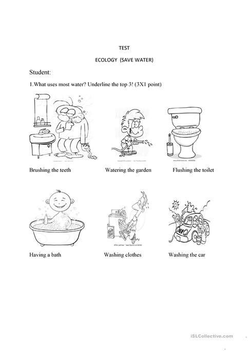 Test Ecology Save Water Worksheet