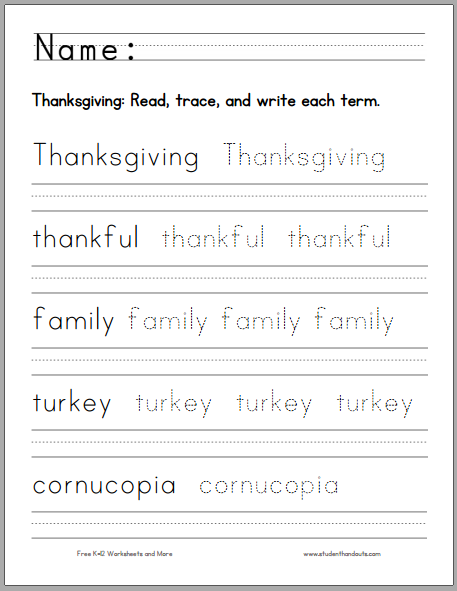 Thanksgiving Handwriting Practice Worksheet For Kids