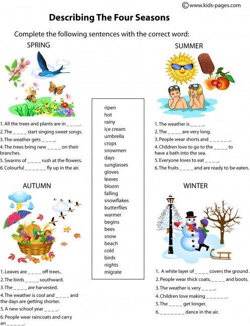 The Four Seasons Description Worksheet