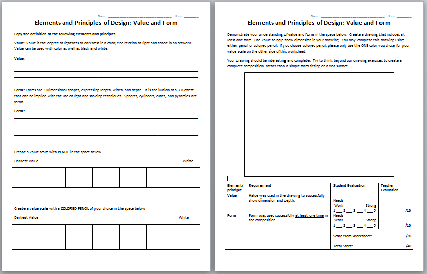The Smartteacher Resource  Elements And Principles  Value And Form
