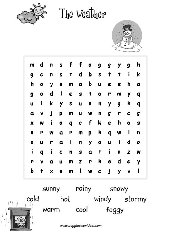The Weather Worksheets For Young Esl Learners