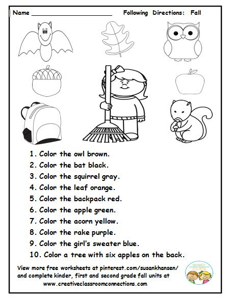 This Is A Cute Fall Activity For Students To Read And Follow
