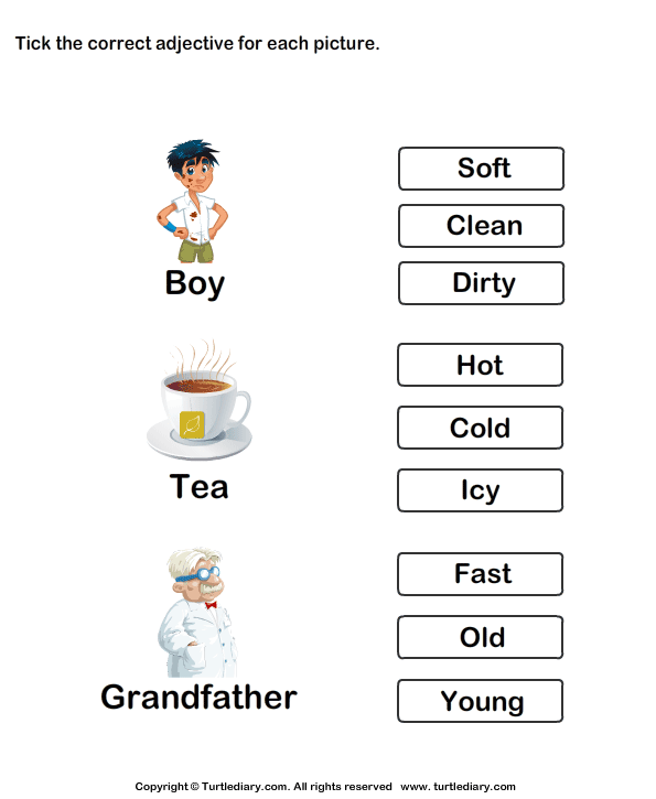 Tick Adjectives For Pictures Of Boy Tea Grandfather Worksheet