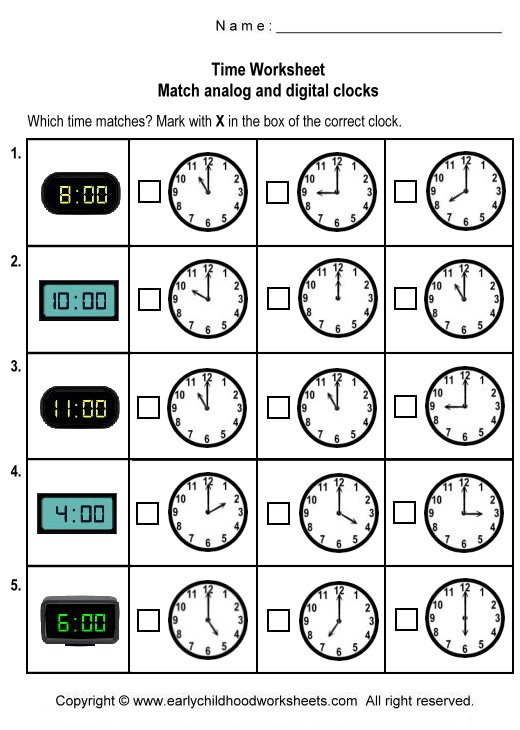 Time Worksheets Match Digital And Analogue Worksheets For All