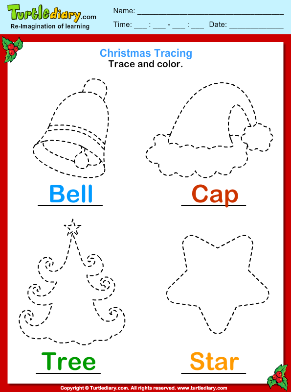 Trace Christmas Worksheet – Festival Collections