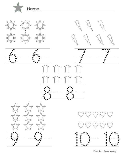 Tracing Numbers 6 10 Worksheets Clipart