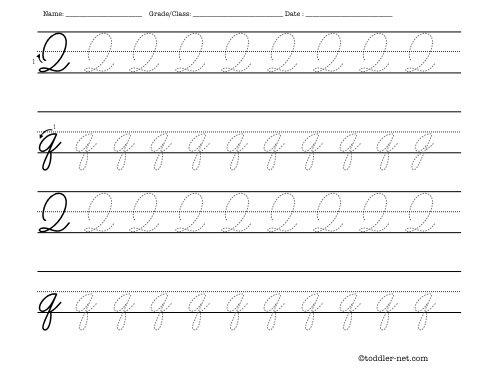 Tracing Worksheet  Cursive Letter Q